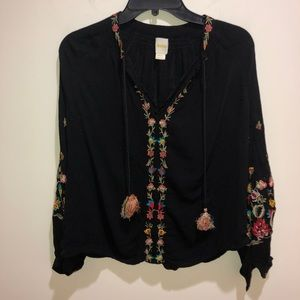 Anthropologie Maeve XS Black Embroidered Floral